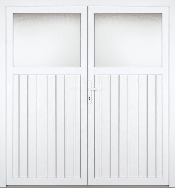 """Nebeneingangstür """"MELINA 1/3"""" 60mm (PVC, genutet, 2-flügelig, Doppeltür, symmetrisch, weiß)"""