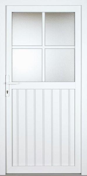 "Nebeneingangstür ""FERNANDA"" 60mm (PVC, genutet, weiß)"