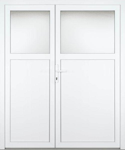 """Kunststoff-Aluminium Nebeneingangstür """"ANASTASIA 1/3"""" 70mm 2-flügelig Doppeltür asymmetrisch"""