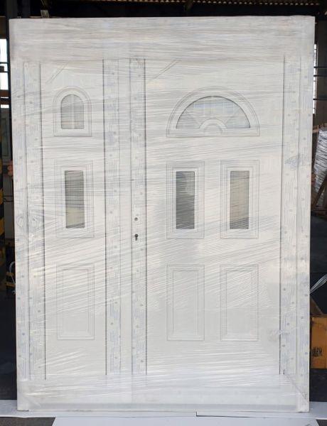 """Kunststoff Haustür """"MADLEN"""" 70mm Doppeltür asymmetrisch (160cm (B) x 210cm (H), NEUWERTIG, B-Ware)"""