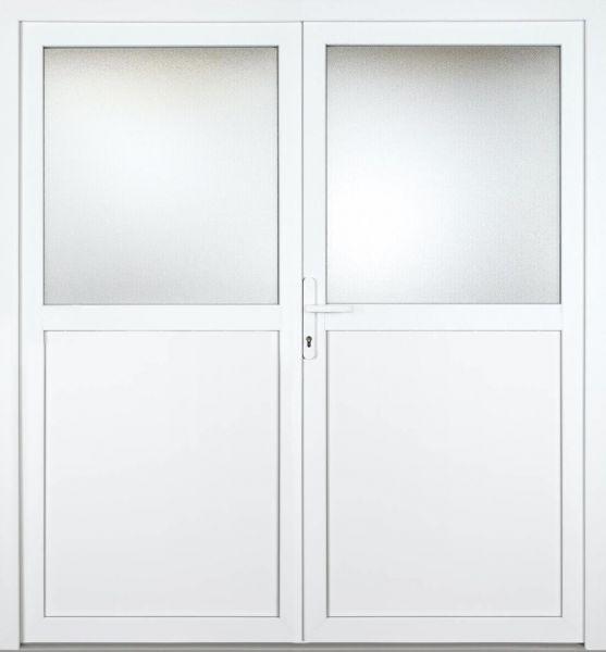 """Nebeneingangstür """"CAILIN 1/2"""" 70mm (glatt, 2-flügelig, Doppeltür, symmetrisch, weiß)"""