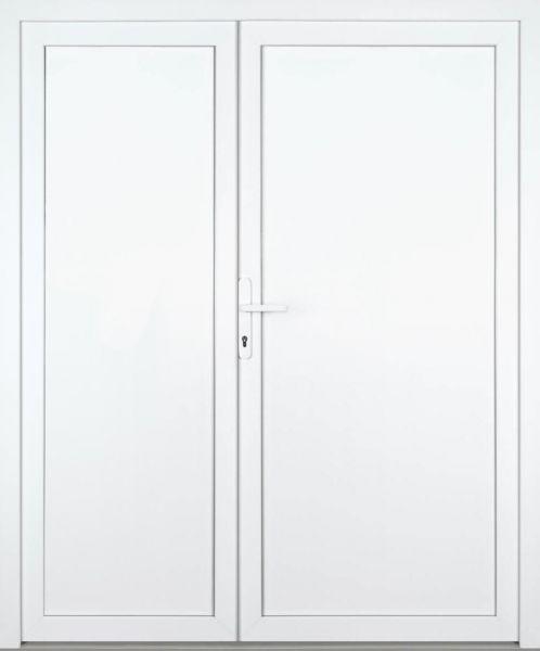 """Kunststoff Nebeneingangstür """"GALE"""" 70mm 2-flügelig Doppeltür asymmetrisch"""