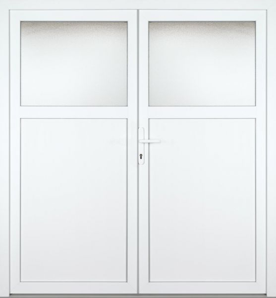 "Kunststoff-Aluminium Nebeneingangstür ""TONJA 1/3"" 70mm 2-flügelig Doppeltür symmetrisch"