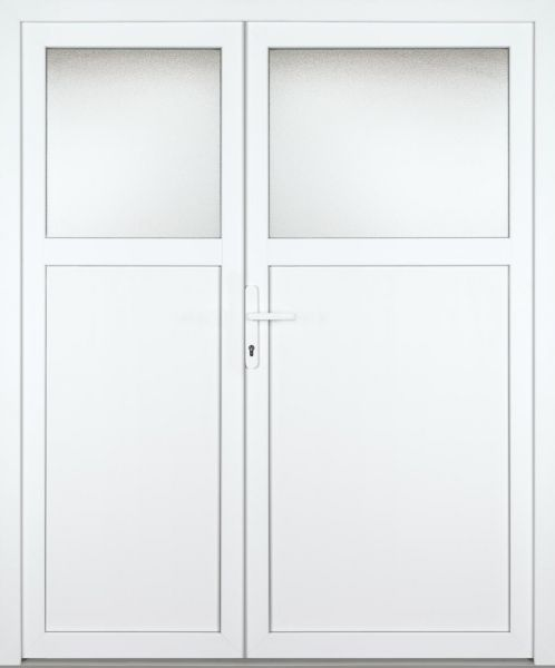 """Kunststoff Nebeneingangstür """"ANTONIA"""" 70mm 2-flügelig Doppeltür asymmetrisch"""