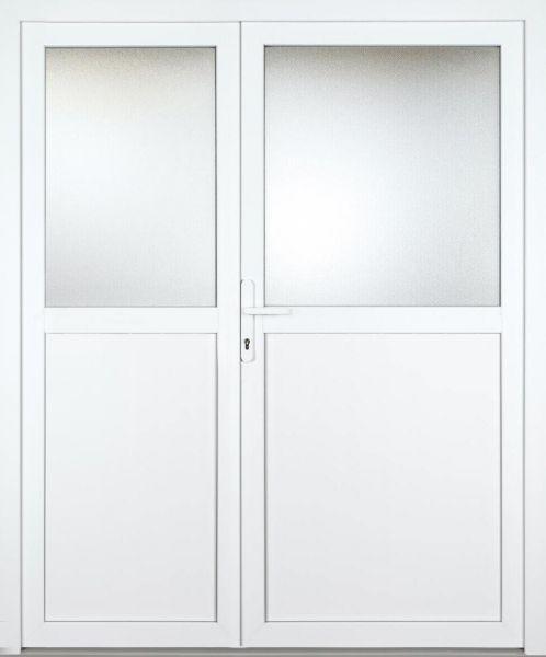 """Kunststoff Nebeneingangstür """"ALINA 1/2"""" 60mm 2-flügelig Doppeltür asymmetrisch"""