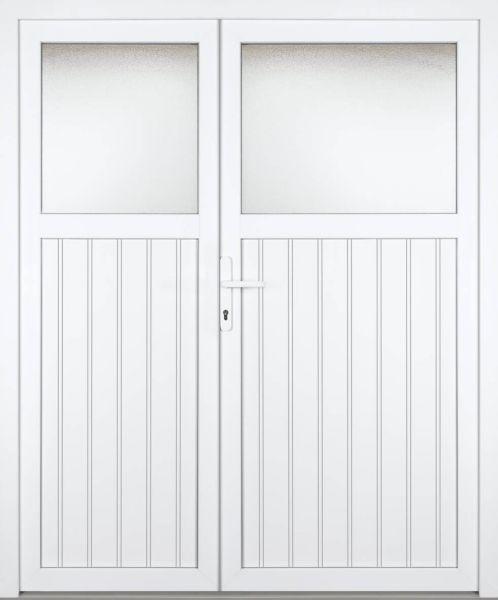 """Kunststoff Nebeneingangstür """"SANDRA"""" 60mm 2-flügelig Doppeltür asymmetrisch"""